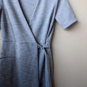 Topshop Dresses - Topshop Belted Wrap Heathered Gray Midi Dress sz 8